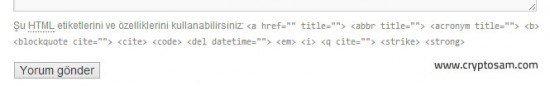 Yorumlardan html etiketleri kaldırmak